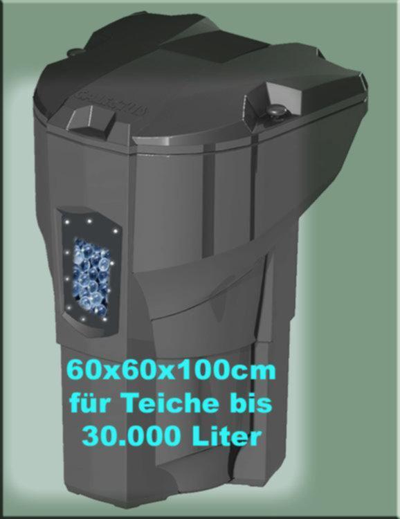 Der Calictus Teichfilter ist sehr kompakt und daher ideal geeignet für Teichfreunde, die nicht viel Platz für ein Filtersystem verschwenden wollen. Genial, stark, unscheinbar und selbstreinigend - das sind einige Attribute, die den CALICTUS so einzigartig und unschlagbar für kleinere Koiteiche machen!